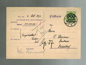 1923-Koln-Germany-Inflation-Postcard-cover-to-Dusseldorf-800000-RM