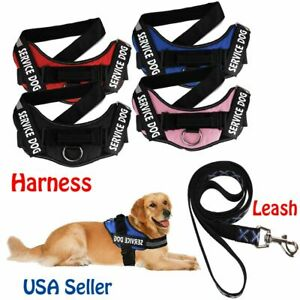 USA-Dog-Breathable-Service-Harness-amp-Leash-Rope-Adjustable-Reflective-Collar-Strap