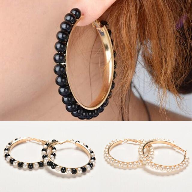 Women Charm Faux Pearl Earings Chic Beads Gold Plated Ear Hoop Circle Earring.AU