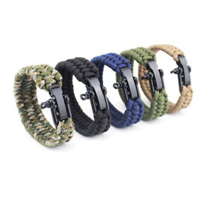 1PC Outdoor Camping Paracord Bracelet Survival Emergency Braided Rope