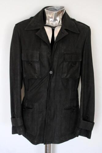 Safari Rrp£1945 Leather Coat Trussardi Buckskin Deerskin Blue Jacket Eu48 Medium ZCHUqw