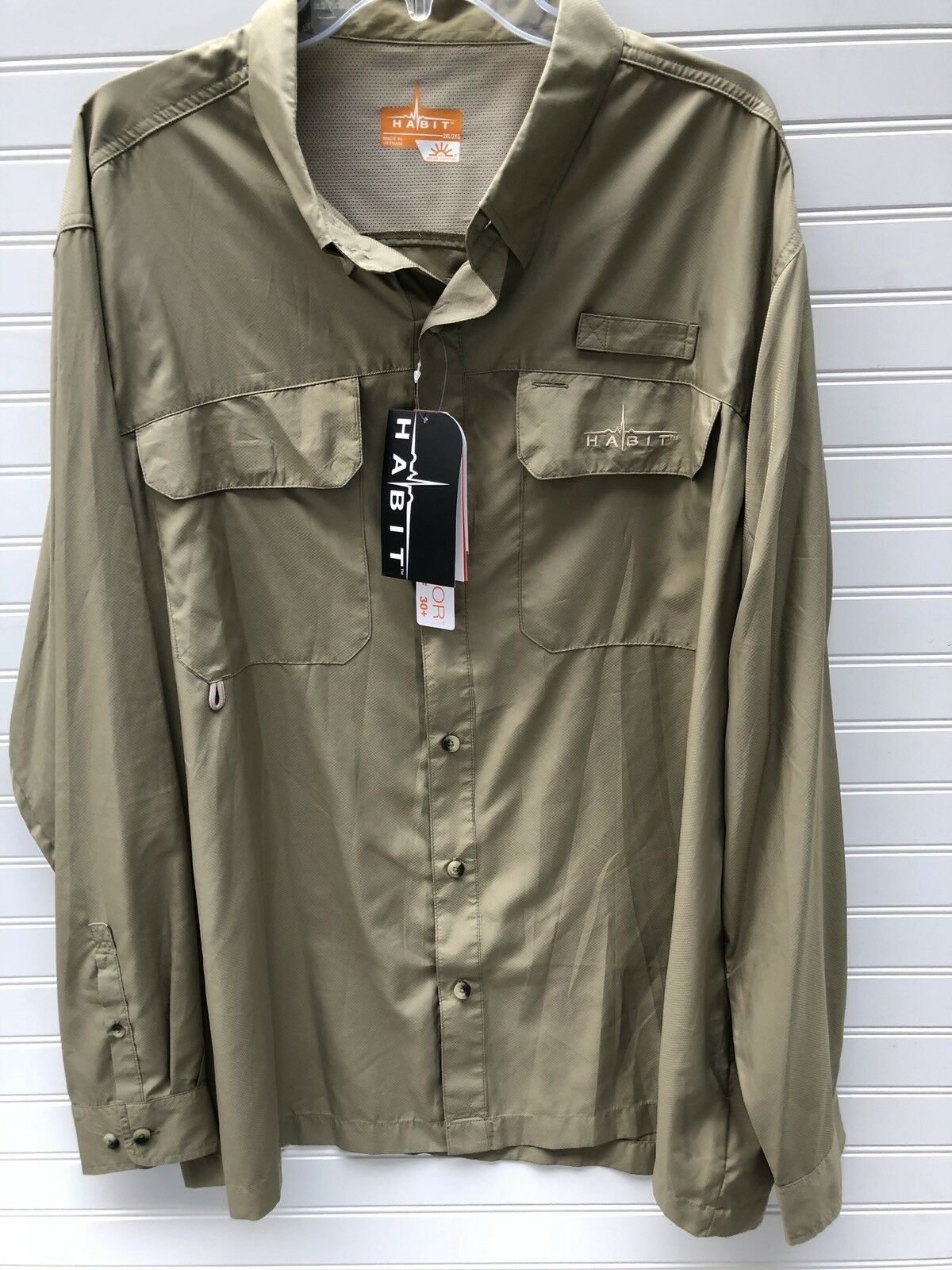Habit Mens Solar Factor 40+  Fishing Outdoors Vented Shirt 2XL XXL Tan Khaki NEW  at cheap
