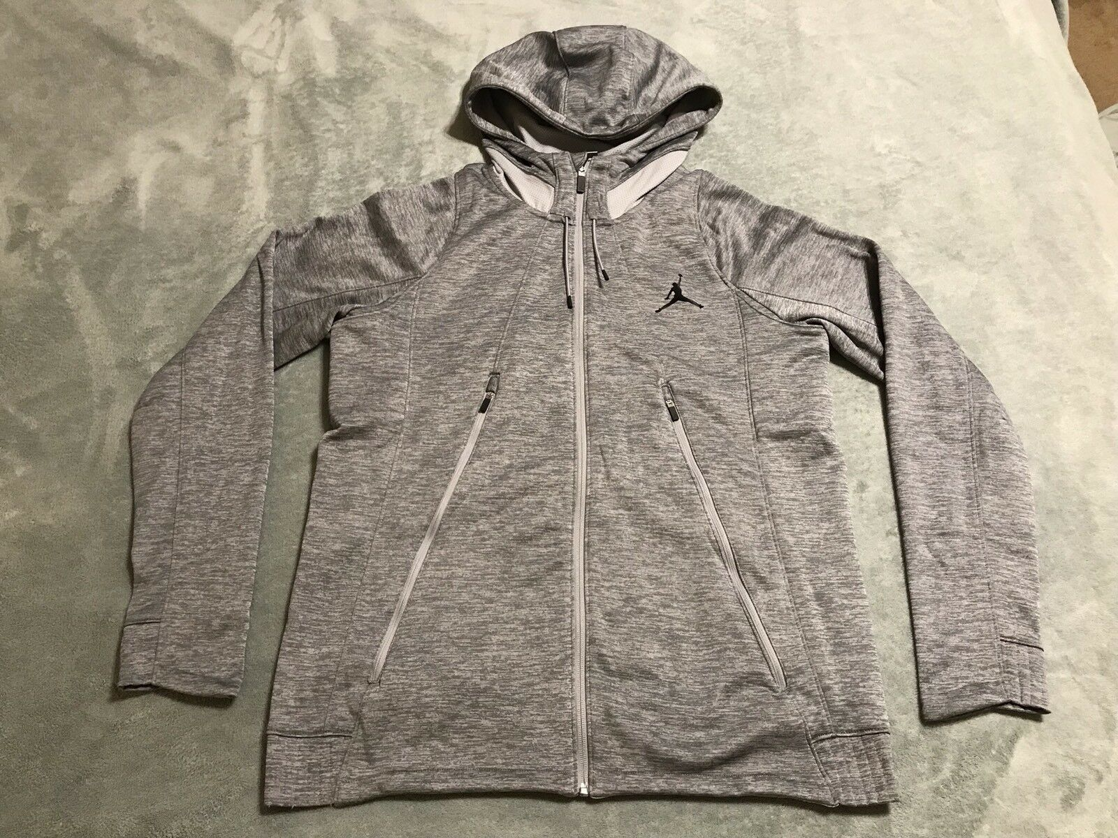 AIR JORDAN FLIGHT FLEECE HOODIE THERMA FIT Herren sz LARGE L grau 688525 012 NWT