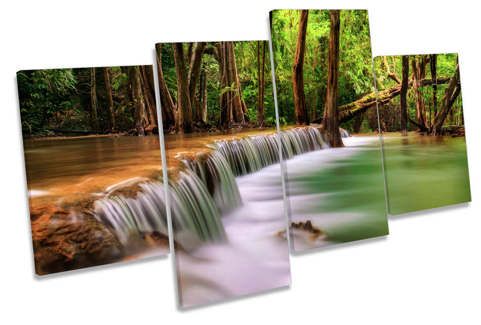 Forest Landscape Tropical River MULTI CANVAS WALL ART Framed Panel Panel Panel bf89b8