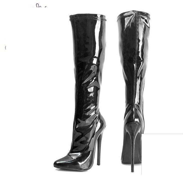 B1 DONNA Sexy Cuoio Overknee Stivali Super tacco alto Stilettos 16 cm SZ