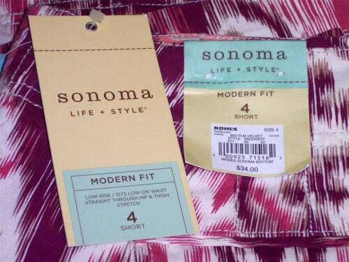 NWT Sonoma Modern Fit Stretch Short Shorts Plum Velvet Size 4 6 8 10 12 14 16