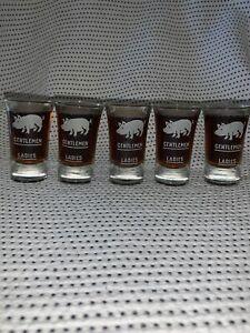 Set-of-5-Vintage-Antique-Ladies-Gentlemen-Pig-Shot-Glasses-VGC