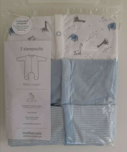 Mothercare Baby Boys Adorable Elephant Giraffe Sleepsuits Babygrows 3 Pack NEW