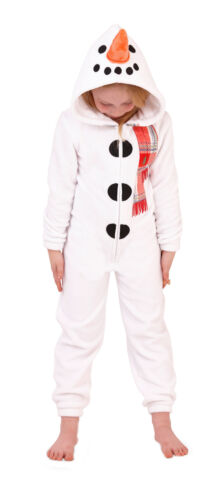 Kids 3D Snowman All In One Hooded Fleece Onezee Novelty Fancy Dress Up Size