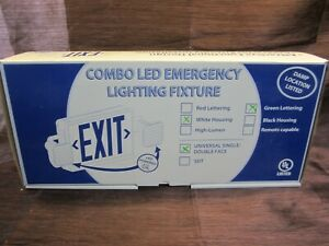 Combo-LED-Emergency-Exit-Sign-Light-Fixture-White-Housing-Green-Lettering-NEW