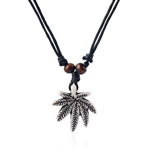 Wholesale Lot 12pcs White//Brown//Rasta Marijuana Ganja Weed Leaf Pendant Necklace
