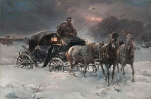 Details About Oil Painting Repro Alfred Von Wierusz Kowalski Traveller On A Winter Night