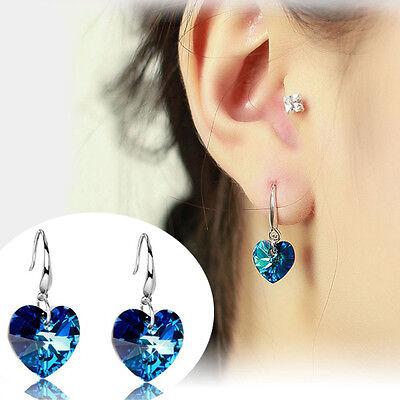 Fashion Women Cute Silver Plated Ear Hook Blue Crystal Rhinestone Earrings Stud