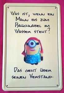 Details Zu Blechschild 20x30 Minions Spruch Mann Bauchnabel Verstand Fun Kneipe Bar Schild