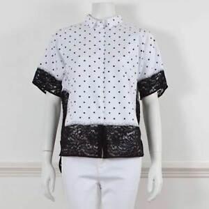 e13ff297429c7 NO 21 Black   White Cotton Polka Dot Lace Detail Short Sleeved Shirt ...