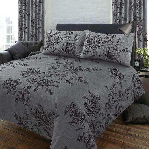 DOUBLE BED DUVET COVER SET WILD ROSE FLORAL SLATE GREY BLACK BEDDING SET