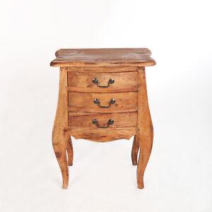 Antik Nachtschrank Nachttisch Nachtkommode Schubladen Massivholz Shabby Weiss