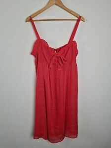 Katherine Red Orange Sun A-Line Silk Linen Dress Women's Size 14 Sweetheart Neck