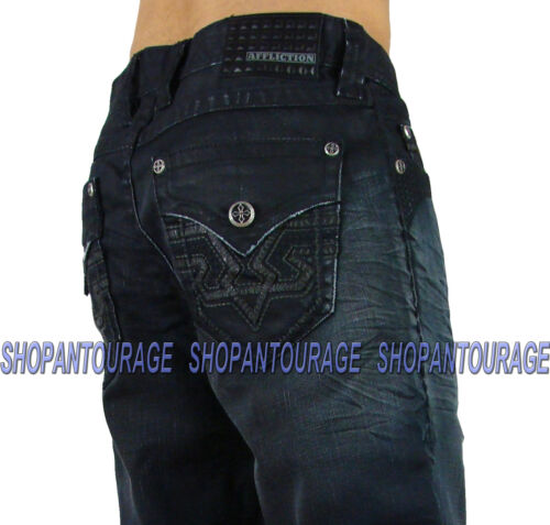 Affliction Grant Basque Flap Revelry 110LF010 Loose Fit Denim Jeans For Men