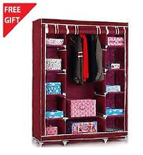 HomeBasics MAROON 3 DOOR FOLDING WARDROBE CUPBOARD ALMIRAH BEST QUALITY