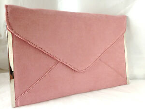 unique design best sell purchase genuine Details about NEW BABY PINK BLUSH FAUX SUEDE EVENING DAY CLUTCH BAG  ENVELOPE WEDDING PARTY