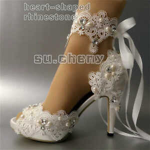 abd785277 su.cheny white ivory satin rhinestone open toe ribbon ankle Wedding ...