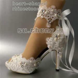 cce4f0347a su.cheny white ivory satin rhinestone open toe ribbon ankle Wedding ...