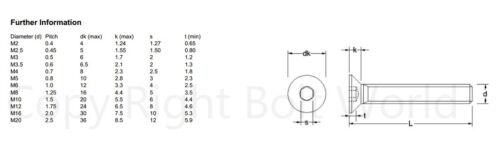 M3 3 mm y alta resistencia de cabeza avellanada Plana pernos Allen Self Color Socket Tornillos