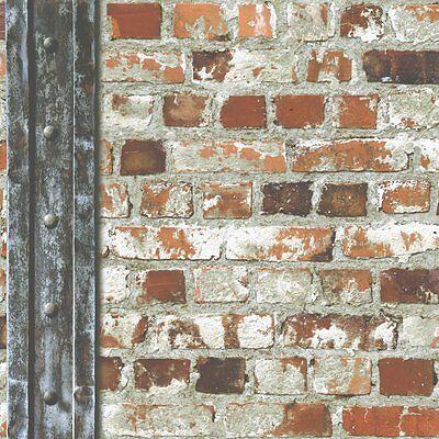 Muriva Loft Brick With Beam Wallpaper Multicoloured (102540)