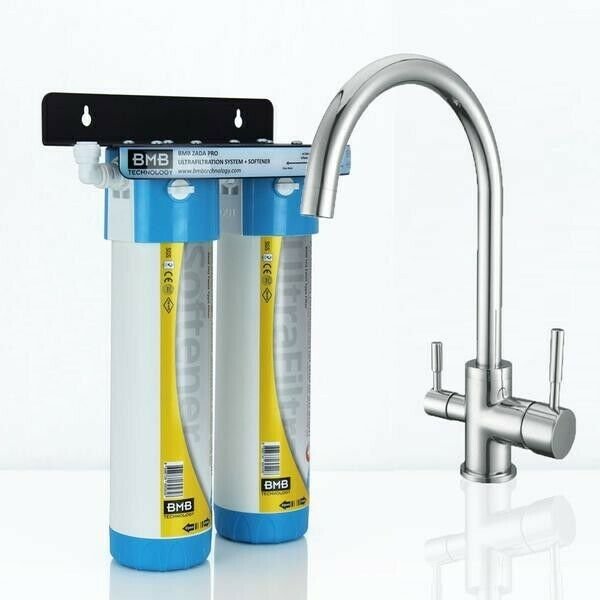 BMB Zada Pro Inline Water Filter System with Hommix Verona Chrome 3-Way Tap