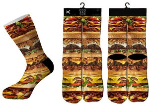 Odd-Sox-Fromage-Hamburger-Pile-Fast-Food-Sublime-Chaussettes-Crew-6-13-Nwt