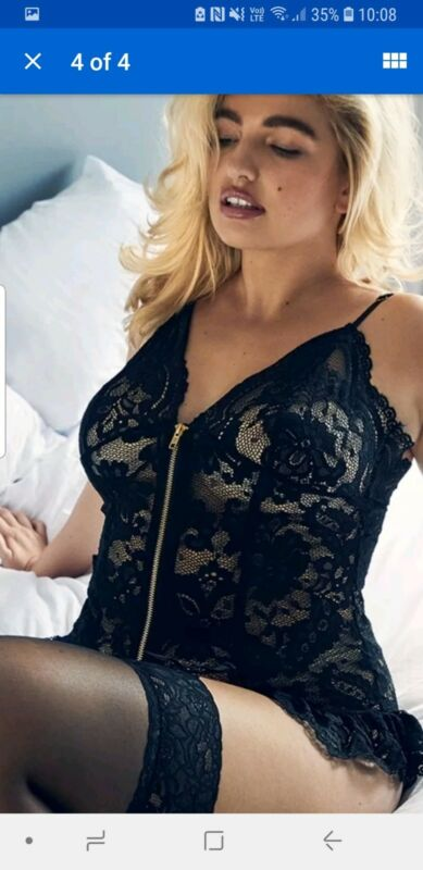 Ann Summers Taylor Black Lace Crotchless Suspender Body Size Xxl 24 -26 Nwt
