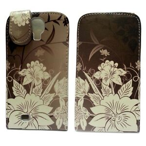 Marrone-Custodia-con-bianco-stampa-floreale-Flip-in-pelle-per-Samsung-Galaxy