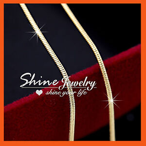18K-YELLOW-GOLD-GF-SNAKE-CHAIN-for-pendant-SOLID-MENS-WOMENS-KIDS-NECKLACE-GIFT