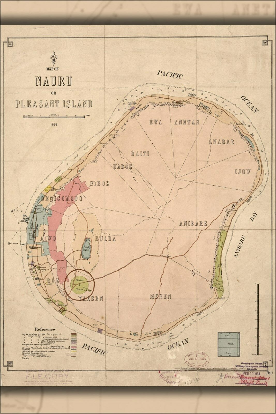 Plakat, Viele Größen; Karte von Nauru Or Angenehme Insel