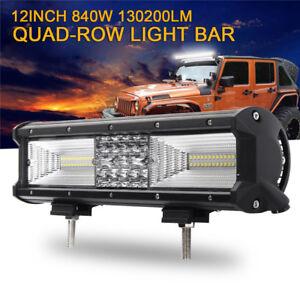 Quad Row 12inch 840W LED Work Light Bar Flood Spot Combo Offroad Truck SUV Boat