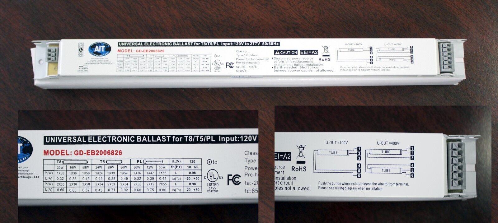 Universal Electronic Florescent Ballast Strip T8/t5/pl 120v - 277v ...