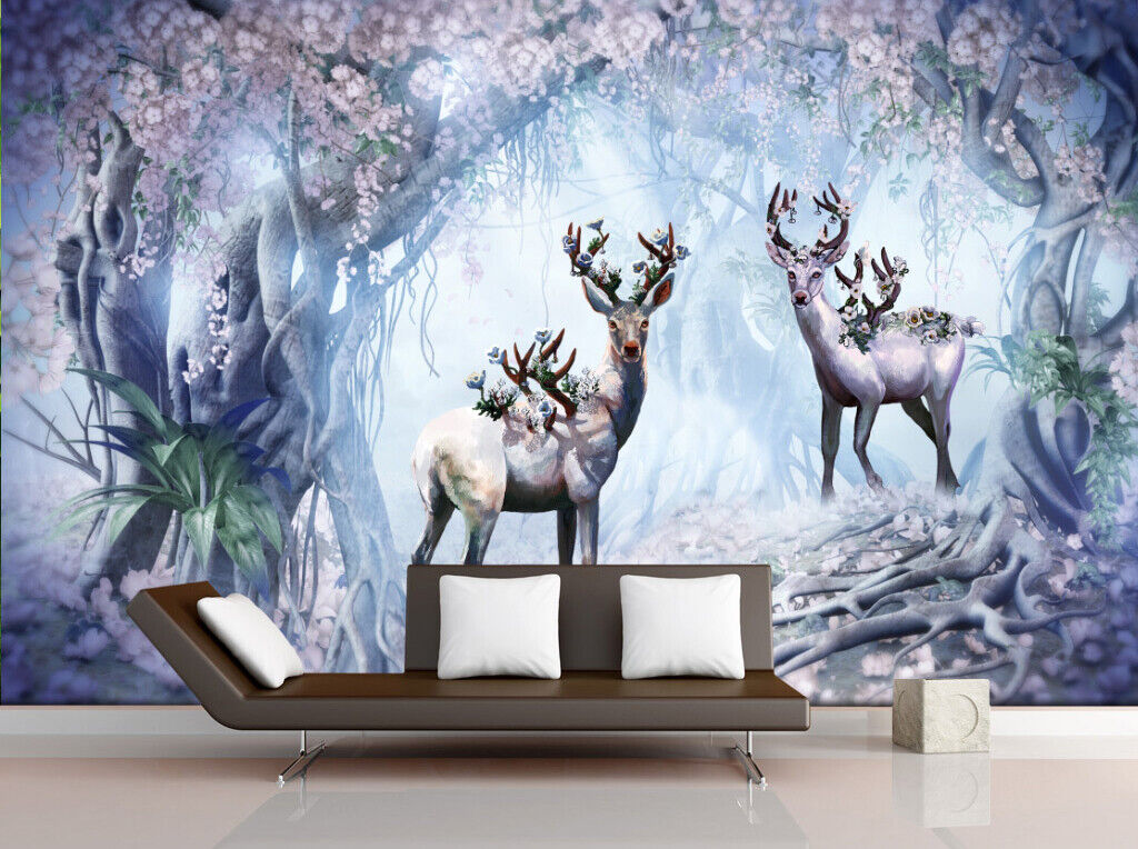 3D Forest Sika Deer I091 Wallpaper Mural Sefl-adhesive Removable Sticker Wendy
