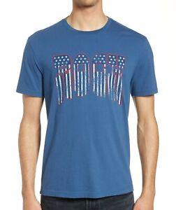John-Varvatos-Star-USA-Men-039-s-American-Rock-Graphic-Crew-T-Shirt-Stream-Blue