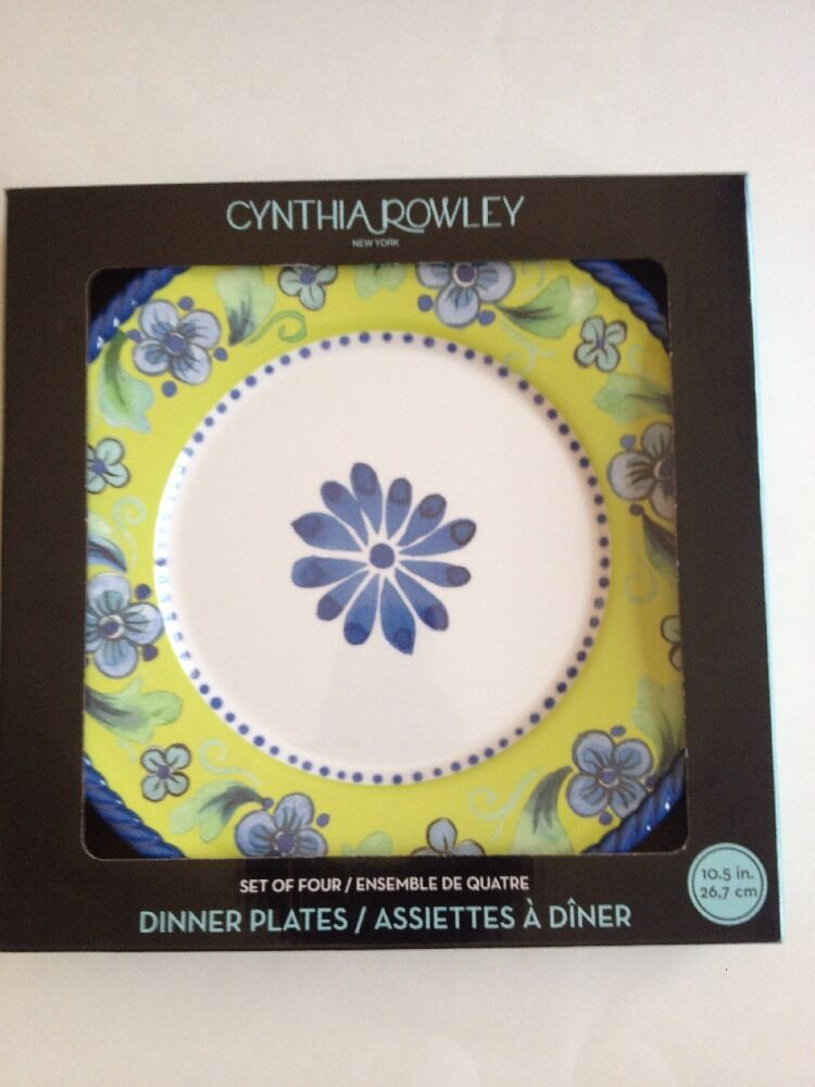 Cynthia Rowley Dinner Plates Indoor Outdoor Set Of Four bluee Green White New