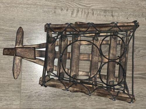 HAND MADE NATURAL WOODEN CART WINE CHAMPAGNE RACK BOTTLE HOLDER DISPLAY STORAGE