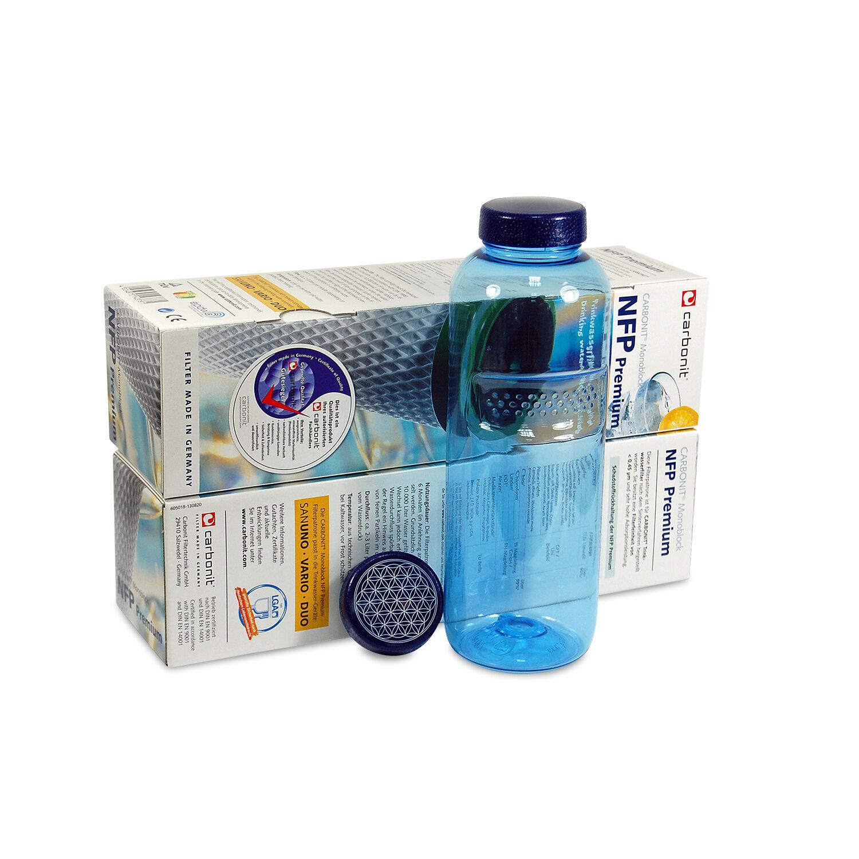CARBONIT NFP Premium 2er Filtre Cartouche Filtre à Eau + 0,75 L Bouteille (2 Couvercle)