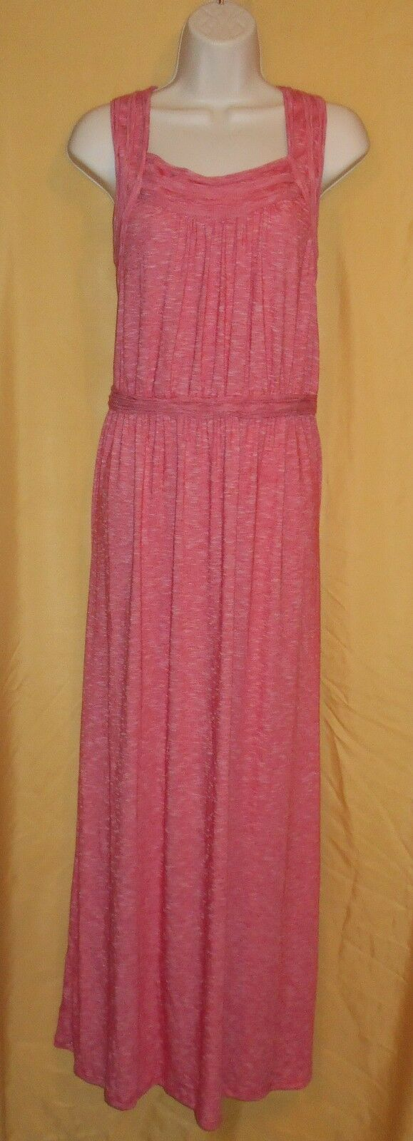 Max Edition women's red ivory striped maxi sundress stretch dress top M L  118