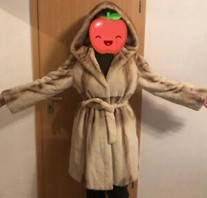 Nerzmantel-geschoren-Samtnerz-Nerzjacke-Mink-40-42-L-fur-coat