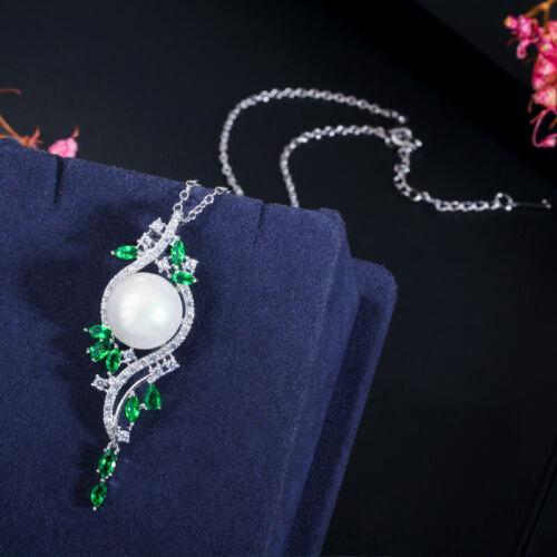 CWWZircons Elegante Grüne CZ Lange Perlen Ohrring Halsketten Schmucksets