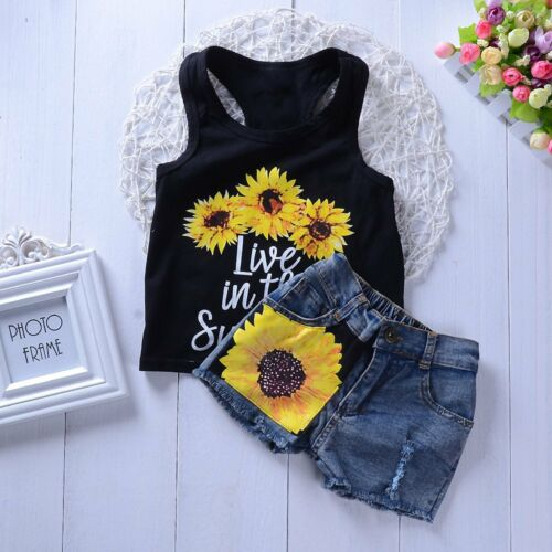 Toddler Kids Baby Girl Summer Tops T-shirt Denim Shorts 2Pcs Outfits Clothes US