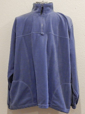 Purple Fleece Jacket Plus Size 2XL Solid Polyester Zip Coat Turtleneck