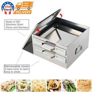 2 Layers Rice Noodle Roll Steamer Cooker Steaming Machine Drawer Stainless Steel