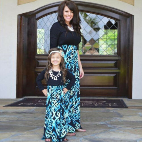 Mommy and Me Striped Dress Mother Daughter Family Look Clothes Matching Outfit