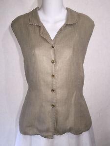 Jeanne-Engelhart-FLAX-Beige-Linen-Button-Shirt-Tunic-Top-Collared-Tank-Medium-M